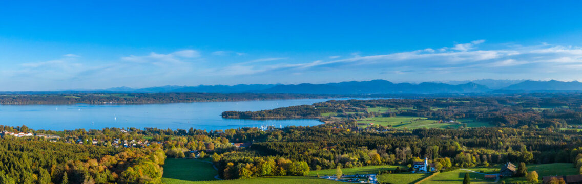Lake Starnberg, view from Ilkahoehe, Bavaria, Germany