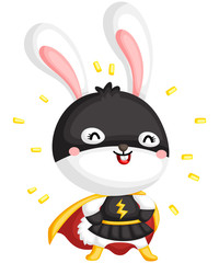a vector of a cute rabbit in a superhero costume