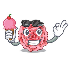 With ice cream carnations stick to the cartoon stem