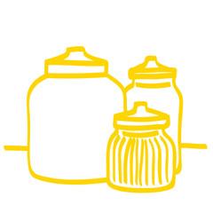 Handgezeichnete Vorratsgläser in gelb