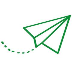 Handgezeichneter Papierflieger in grün