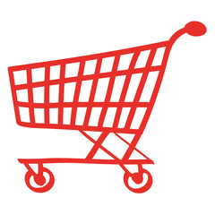 Handgezeichneter Einkaufswagen in rot