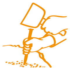 Handgezeichnete Hände bearbeiten Stein mit Meißel in orange
