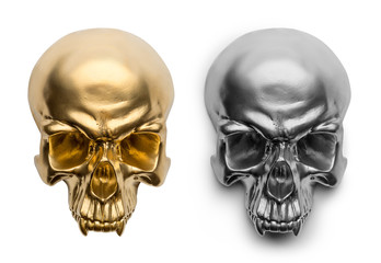 Isolated gold and silver skull on white background