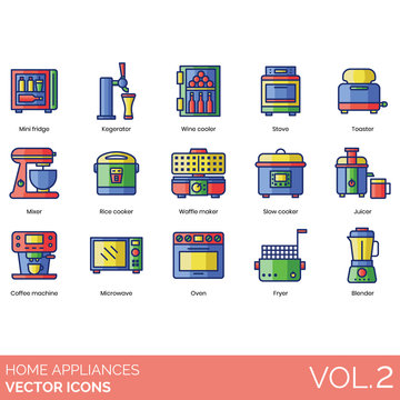Home appliance icons including mini fridge, kegerator, wine cooler, stove, toaster, mixer, rice cooker, waffle maker, slow, juicer, coffee machine, microwave, oven, fryer, blender.