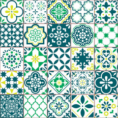 Tile vector pattern - Azulejo Lisbon retro old tiles mosaic, Portuguese seamless green design