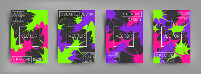 Set of covers with bright paints, pattern and splash. Minimal, light, bright, contrast and explosion design with trend colors of 2019. Coral, purple and green colors