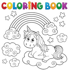 Photo on textile frame For Kids Coloring book cute unicorn topic 1