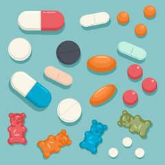 Medicine pills, tablets, capsules, jelly gummy bears and activated charcoal. Vector cartoon flat top view icons set isolated on background.