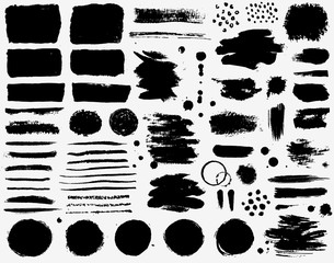 Paint brush strokes and ink stains. Grunge vector collection.
