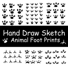 Six package black and white hand draw sketch of various animal foot print, cat, dog, bird, rooster, pig, mouse etc