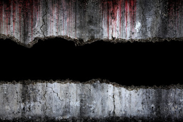 Bloody background scary on damaged grungy crack and broken concrete wall, concept of Halloween and horror Wall mural