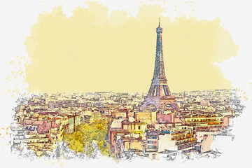 Fototapeta Watercolor sketch or illustration of a beautiful view of Paris in France. Cityscape or urban skyline obraz