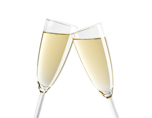 Kieliszek szampana na białym tle