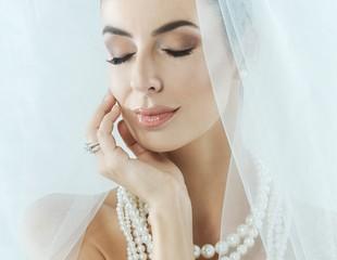 Closeup photo of sensual bride