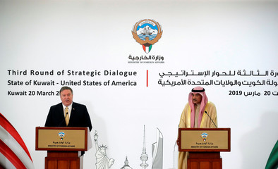 U.S. Secretary of State Mike Pompeo and Kuwait's Foreign Minister Sheikh Sabah Al-Khalid Al-Sabah speak during a news conference in Kuwait City
