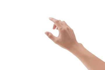 man hand touching something on white background