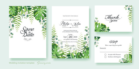 Greenery wedding Invitation, save the date, thank you, rsvp card Design template. Vector. Summer leaf, silver dollar eucalyptus, olive leaves, fern, Wax flower.