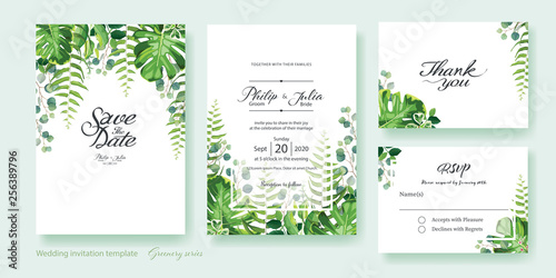 Greenery Wedding Invitation Save The Date Thank You Rsvp Card