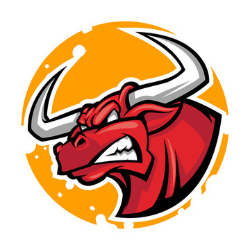 angry bull head mascot vector illustration