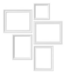 White photo frames isolated on white background