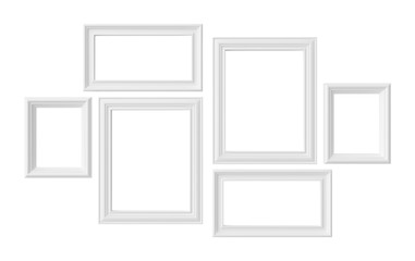 White photoframes isolated on white background