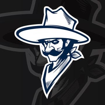cowboy mascot black and white logo illustration