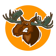 angry deer head mascot vector illustration