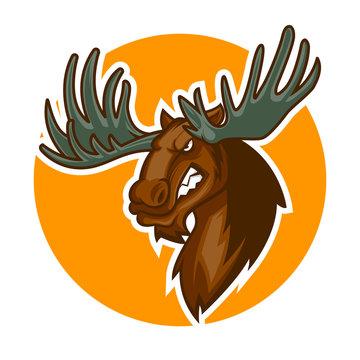 angry deer head mascot vector illustration