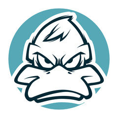 angry duck head black and white illustration mascot esports logo