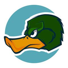angry duck head illustration mascot esports logo