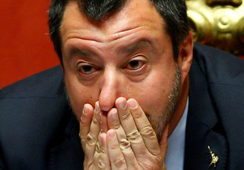 Deputy Prime Minister Matteo Salvini reacts in the upper house of the Italian parliament, in Rome