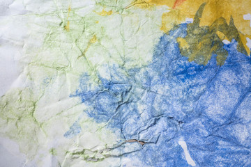 white rough wrinkled paper texture with watercolor painting background