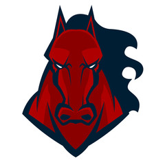 angry horse head mascot esports logo illustration