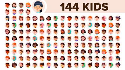Kids Avatar Set Vector. Girl, Guy. Multi Racial. Face Emotions. Multinational User People Portrait. Male, Female. Ethnic. Icon. Asian, African, European, Arab. Flat Illustration
