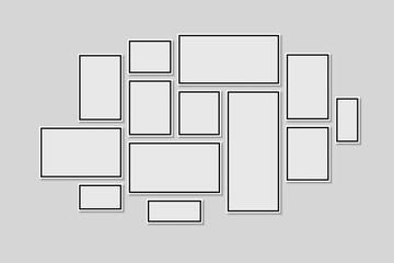 Collection of black frames. Picture frame vector
