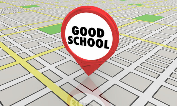 Good School Education District Map Pin Location 3d Illustration