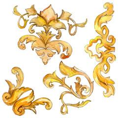 Gold monogram floral ornament. Baroque design isolated elements. Watercolor background illustration set.
