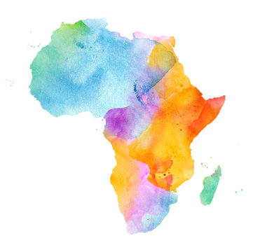 Multicolor Watercolor Africa Map on white Background, Side View.