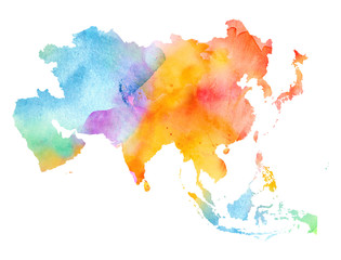 Fototapete - Multicolor Watercolor Asia Map on white Background, Side View.