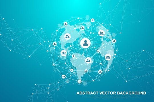 Futuristic abstract background blockchain technology. Global internet network connection. Peer to peer network business concept. Global cryptocurrency blockchain vector banner. Wave flow