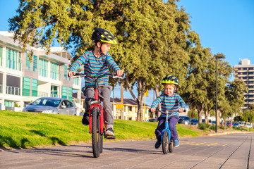 Children riding bicycles in Glenelg