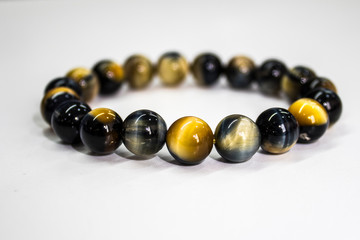 Tiger's Eye stone The name of the rock type on the White Blackground