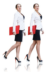 Collage of full length business woman with red folder in hands.