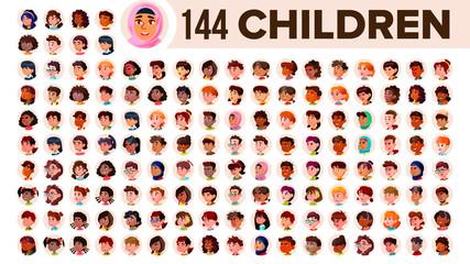 Children Avatar Set Vector. Child Girl, Guy. Multi Racial. Face Emotions. Multinational User People Portrait. Male, Female. Ethnic. Icon. Asian, African, European, Arab. Flat Illustration