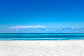 Aluminium Prints Beach Empty tropical beach background. Horizon with sky and white sand
