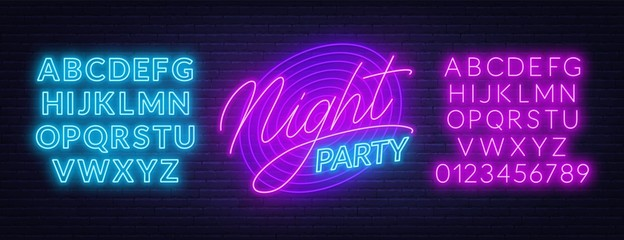 Neon lettering Night party on brick wall background. Glowing fonts. Template for invitation, card or poster.