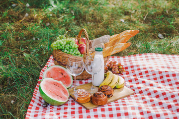 Acrylic Prints Picnic Picnic and healthy food concept. Horizontal color photography.