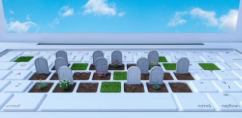 graveyard on laptop computer, dependence on the digital world concept, 3d render, 3d illustration Wall mural