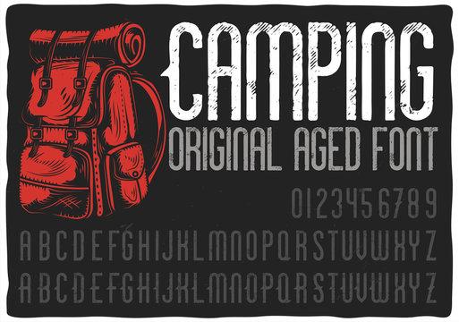 "Vintage label typeface named ""Camping""."